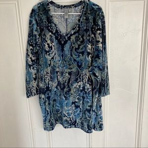 Catherines blue and grey paisley tunic size 4x